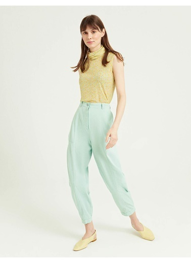 BGN Su Yeşili - Rahat Kesim Pamuklu Pantolon Yeşil
